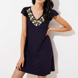 LOFT Embroidered Flutter Swing Dress